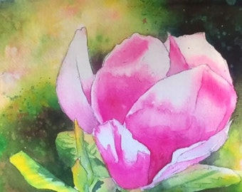 Pink Tulip Tree Original Watercolor Painting 7 in X 10.5 in  Gifts under 50 Pink Green Flowers