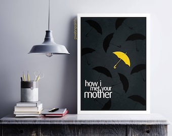 Yellow umbrella, how i met your mother, ted mosby, barney stinson, dorm room decor, wall art, tv show, poster