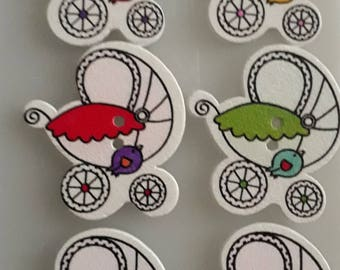 Baby Prams Colourful Wooden Buttons