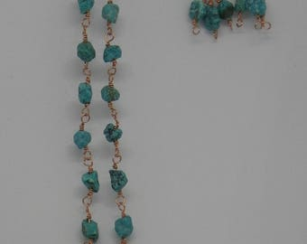 Copper and Turquoise Wire-Wrapped Earring and Necklace Set