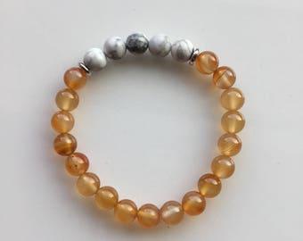 Orange and White/Gray Bracelet
