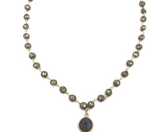 Short pyrite necklace with moonstone  and labradorite drop