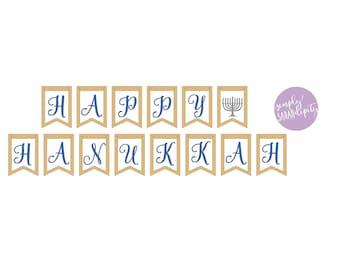Hanukkah Burlap Banner | Happy Hanukkah Banner