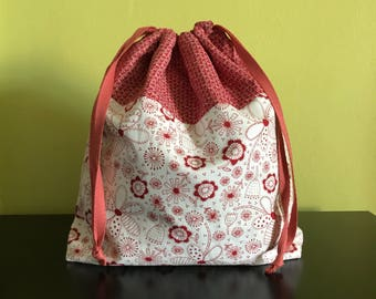 Handmade drawstring bag / pouch for knitting crochet project 27 x 21.5 x 7.5 cm *Flowers Stitches*