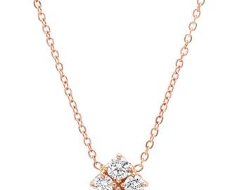 BONNE CHANCE 14k Rose Gold + Diamond Clover Pendant