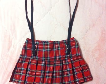 Vintage Red Tartan Plaid Pleated Skirt, Red Tartan Plaid Suspenders Mini Skirt, 90s Vintage Red Plaid Skirt, Tartan Skirt