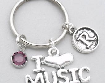 I love music keychain with vintage style initial   music keyring   gift for music teacher   music lover   musician keychain