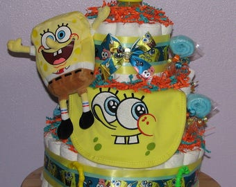 Spongebob Diaper Cake, Spongebob Squarepants Baby Shower, Diaper Cakes for Boys, Baby Shower Centerpiece, Diaper Cake, Spongebob Baby Gifts