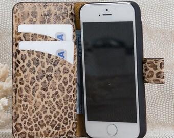 iPhone 6/6S case, case for iPhone 6, unique iPhone case, Brown iPhone case, Wallet iPhone 6, Leather iPhone case, Leopard