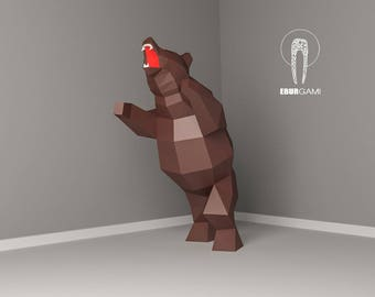 Bear Papercraft, Low Poly XXL Bear Model, Create Your Own, 3D Paper craft Bear, Origami Bear, Lowpoly mask, DIY Bear 3D, Eburgami, PDF