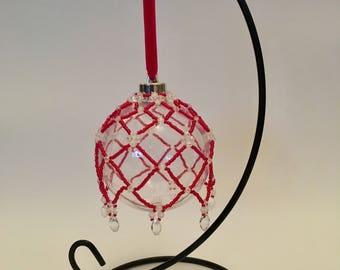 Christmas Tree Decoration / Handbeaded Red and Crystal Christmas Ornament Cover