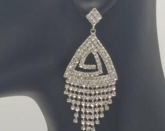 Crystal Triangle Maze Earrings