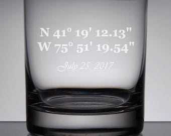 Etched Rocks Glass, GPS Coordinates, Wedding Coordinates Whiskey Glass, Wedding Scotch Glasses, Custom Wedding Glasses, Mr and Mrs Gift