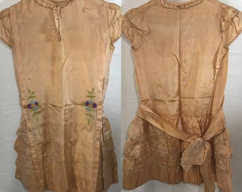 1920s | Girls Dress | silk with needlework