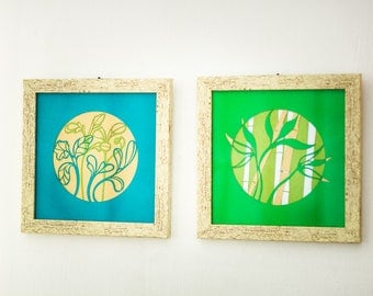 Green Turquoise Bamboo Forest Papercuts Pair Set