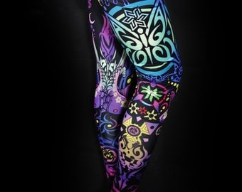 BUTTERFLY SUN Yoga Leggings Festival Clothing Pixie Leggings Hippie Clothing Sports Gifts Yoga Pants Psychedelic Clothing Leggings Woman