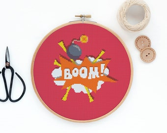 Boom - Modern pop art cross stitch pattern PDF - Instant download