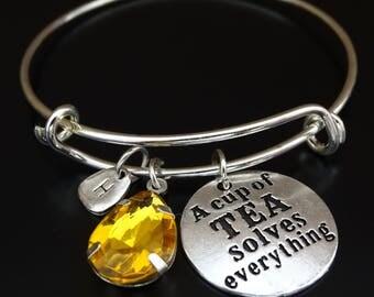 A cup of Tea solves everything Bracelet, Tea Bracelet, Tea Bangle, Tea Pendant, Tea Charm, Tea Jewelry, Tea Lover Gift, Tea Gift, Tea Time