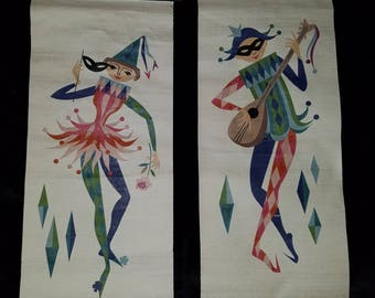 Pair of Mid Century Harlequin/Jester Canvas Wall Art