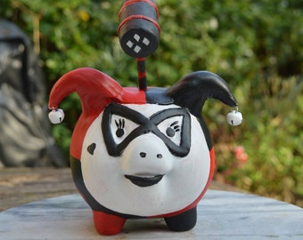 Pigs in Cosplay Harley Pig cute custom Piggy Bank (Harley Quinn) with Mallet