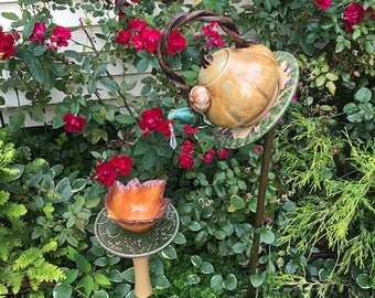 fall pumpkin & leaves tea pot bird feeder