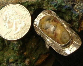 Mexican Lace Agate Ring Size 9 Sterling Silver Saddle Ring Large Gem One of a Kind Handmade Yellow Orange, Red Gray Color 4 mm. Band  313 B
