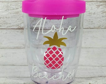 Aloha Beaches//Stemless Acrylic Wine Tumbler//Funny Wine Glass//Customized Tumbler//Beach//Wine Sippy Cup//Bridesmaid Gift//Christmas Gift