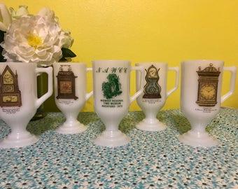 Set of 5 Vintage 1970's Milk Glass White Pedestal Handled Coffee Cups Mugs