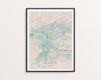 Krakow Blush Pink City Map Print, Clean Contemporary poster fit for Ikea frame 50x70cm, gift art him her, Anniversary personalized