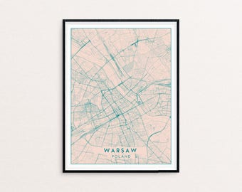 Warsaw Blush Pink City Map Print, Clean Contemporary poster fit for Ikea frame 50x70cm, gift art him her, Anniversary personalized