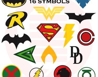 Justice League SVG decal clipart cricut cutting files logo superhero symbol Superman Batman Batgirl Wonderwoman Flash Robin Aquaman cosplay
