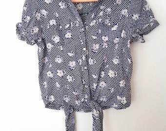 Vintage navy spotted floral loose crop waist tie shirt UK S