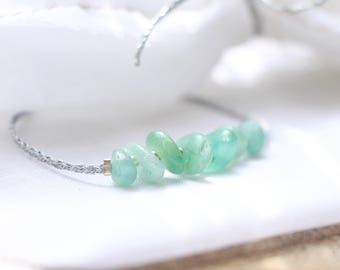 Green AVENTURINE, 925 sterling silver & silver braided Wire Bracelet