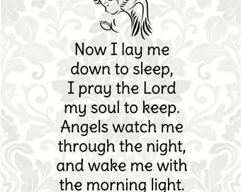 Now I lay me down to sleep - Children's Prayer - Bedtime prayer - Evening prayer (SVG, PDF, Digital File Vector Graphic)