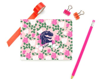 Dinosaur Stationery for Girls, Personalized FOLDED Note Cards, Girls Note Cards with Dinosaur, Pink Stationary for Girls, SET of 10 Cards