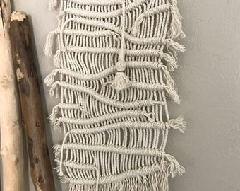 Macrame wall hanging : with tassel on foraged forest stick