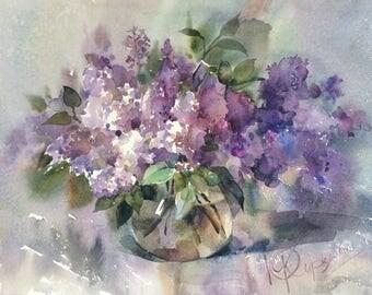 """Watercolor painting """"Lilac""""  by Julia Kirilina"""