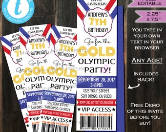 Olympic Birthday Invitation Ticket Go for Gold Invite Olympic Games Let the Games Begin- Any Birthday Invite Printable INSTANT Self EDITABLE