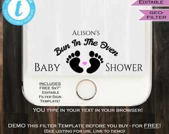 Bun in the Oven Snapchat Geofilter Baby Shower Filter- Baby Feet Girl Boy - Any Color Party Personalize Custom Digital INSTANT Self EDITABLE