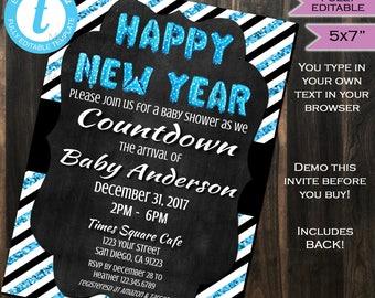 New Years Baby Shower Invitation New Year Baby Sprinkle Invite Blue Glitter Black White Template Custom Printable INSTANT Self EDITABLE 5x7