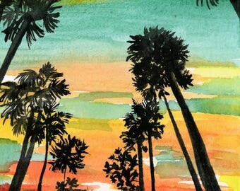 Palm Trees Watercolor Sunset - Silhouette - Watercolor Painting Print