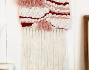 Woven wall hanging - boho - ready to ship - tassels and fringe - blush pink/cream/rust - girl nursery