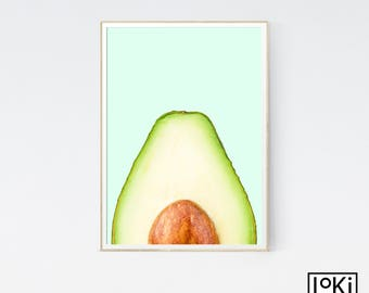 Avocado Print, Fruit Print Set, Fruit Print, Fruit Poster Art, Fruit Wall Art Print, Printed and Shipped, Fruit Kitchen Print, Fruit Decor