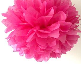 cerise pink / tissue paper pom pom / diy / wedding decor / nursery / yellow pom pom flower