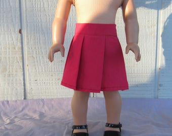 Red Pleated Skirt for 18 inch dolls