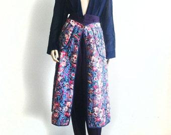 Vintage Outfit Oriental Style aubergine purple wool pants with Neukraft 'blanket' button down skirt and georgette dark blue jacket