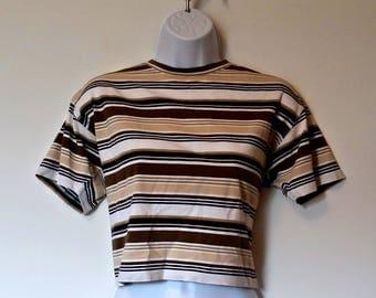 Vintage 90s Cropped Tee Striped Liz - Size M, Medium Med, Grunge Preppy, Prep Soft 1990s, Crop Stripe, Retro Clueless Claiborne, Boxy Box