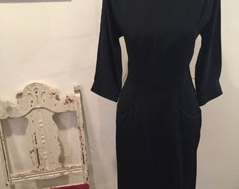 1940s Black Evening Dress R&K Orginals Vintage