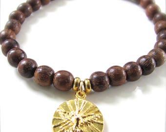 Holy Spirit - Religious Medal Stretch Gemstone Bracelet - Gold Finish & Sandalwood - Stackable Bracelets - Ready to Ship