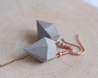 Concrete diamond classic Rosé gold earrings